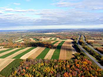 Aerial view of Lilley Farms strip cropping, Angela Wotton. Courtesy of USDA Natural Resources Conservation Service in Maine.